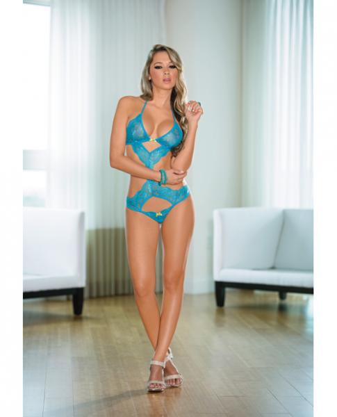 Lace Teddy with Cutouts Ocean Blue Lime O/S Sex Toy Product