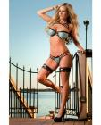 Lacy Bra Wired Cups Strappy Detail, Thong, Gloves & Leg Garters Azure O/S
