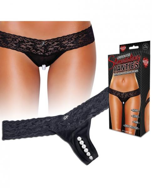 Crotchless Panties Thong Pearl Beads Black M/L Sex Toy Product