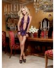 Scalloped Stretch Lace Halter Teddy W/mini Skirt & Bow & Chain Wrist Restraint Plum O/s