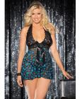 Sheer Lace Babydoll Bow Polka Dots Turquoise/Black 3X/4X