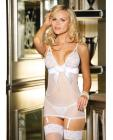 Stretch Lace Mesh Chemise, Garters & G-String White Md