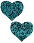 Tease Blue Lace Print Heart Pasties O/S