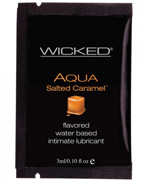 Wicked Sensual Care Collection Aqua Waterbased Lubricant - 3 ml. Packet Salted Caramel Sex Toy Product