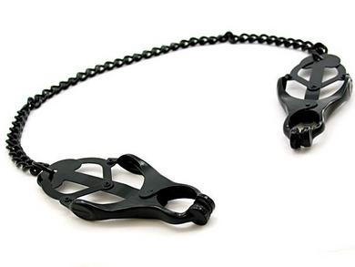 Nipple Clamps Jaws W/ Chain Black