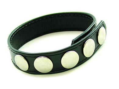 5 Snap leather Cockring Black