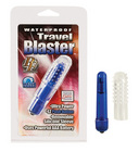 Waterproof travel blaster with silicone sleeve, blue