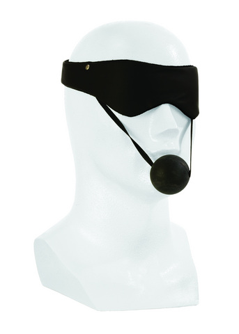 Lover&#039;s Headgear Eyemask/Ball Gag-Blk