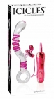 Icicles no. 16 hand blown glass massager - 10 function rabbit clear w/pink swirls
