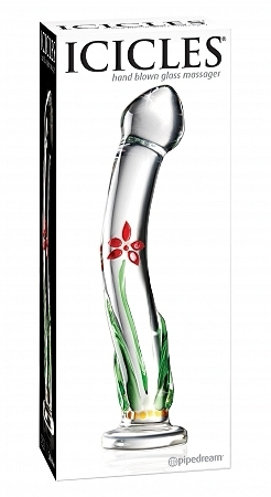 Icicles no. 21 hand blown glass massager - clear w/flowerd stem