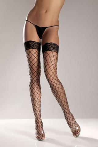 Black Spandex Thigh High Fence Net W/ Stay Up Lace T0P Sex Toy Product