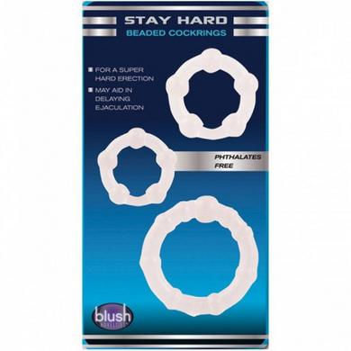 Stay Hard Beaded Cockrings 3Pc Clear