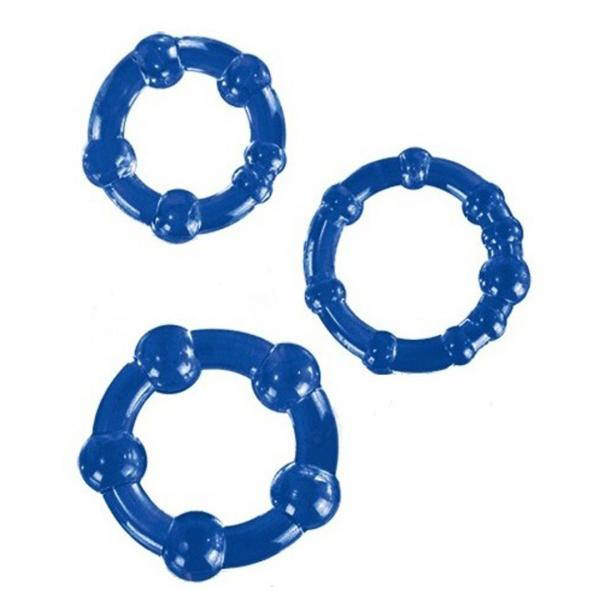 Textured Cockring Trio Blue Bulk Sex Toy Product