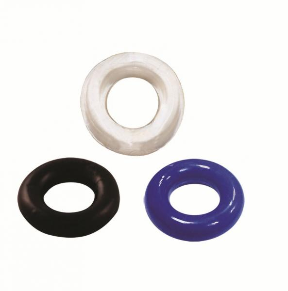 Thick Cock Rings 3 Pack Assorted Colors Sex Toy Product