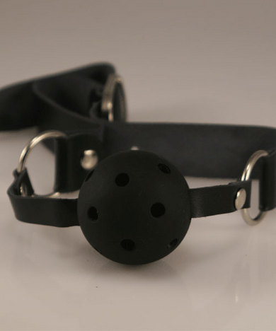Breathable Ball Gag W/Black Collar