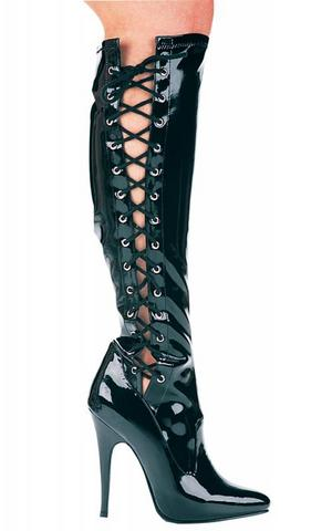 Fierce Black Knee High Boots