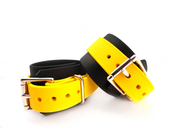 Restraints Ankle Biothane Black & Yellow Sex Toy Product