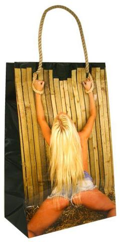 Gift Bag Girl Tied To Fence