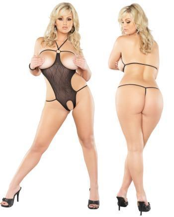 Cupless/Crotchless Halter Set Black 1-2X