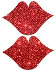 Lips Kisses Red Glitter Pasties O/S Sex Toy Product