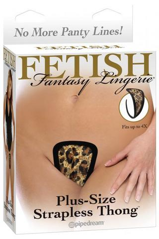 Fetish Fantasy Plus Size Strapless Thong Leopard