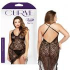 Curve Asymmetrical Lace Dress & Matching G-string Black 1x/2x