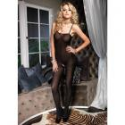 Opaque Bodystocking Spaghetti Straps O/S Black