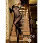 Sheer Long Sleeves Bodystocking O/s Nude
