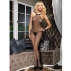 Seamless Fishnet Halter Bodystocking O/s Black
