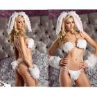 Bewicked Playful Bunny 5pc S/m Furry Bikini Top, Double Strap Thong W/attached Tail, Wrist Cuffs, He Sex Toy Product