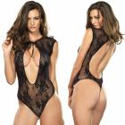 Stretch Lace G-string Teddy With Keyhole Tie Front Detail O/s Black