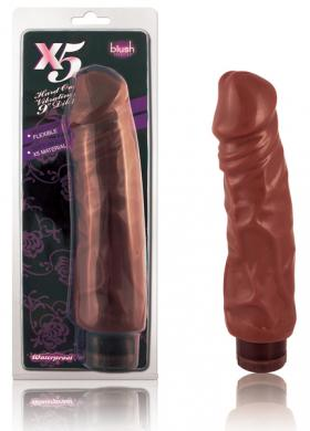 X5 Hard On Vib. 9in Dildo Brown