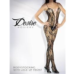 Floral Lace Body Stocking W/ Satin Ribbon Black O/S