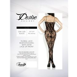 Floral Lace Body Stocking W/ Satin Ribbon Black O/S Queen