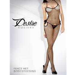 Cutout Fishnet Body Stocking W/ Bow Black Queen