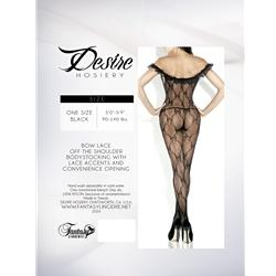 Bow Pattern Bodystocking W/ Off Shoulder Ruffle Blk Os