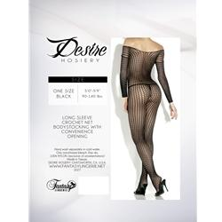 Crochet Net Long Sleeve Bodystocking Black Os