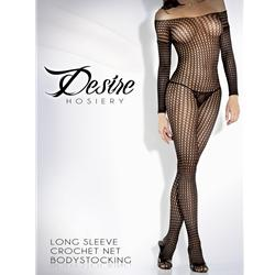Crochet Net Long Sleeve Bodystocking Blk Queen