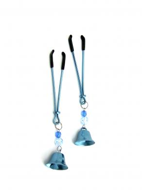 Nipple Clamps Tweezer W/Beads and Bell Blue Sex Toy Product