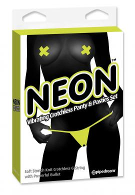 Neon Vibrating Panty and Pasty Set Yellow