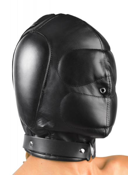 Padded Leather Hood Small/Medium Black Sex Toy Product