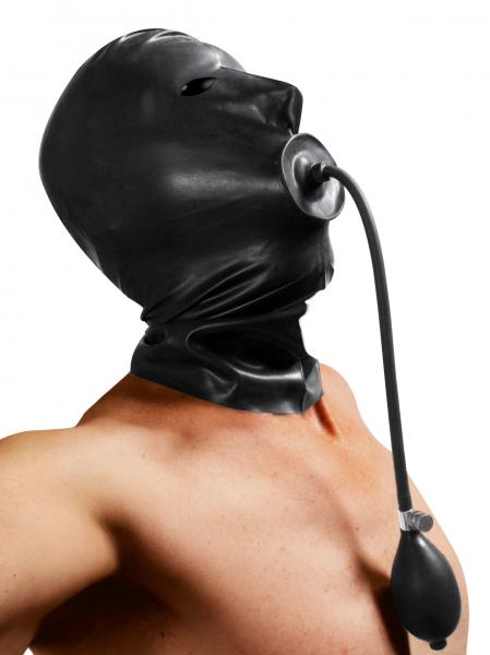 Rubber Hood With Built In Inflatable Gag Black Sex Toy Product