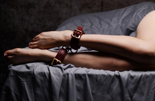 Strict Leather Burgundy Locking Ankle Cuffs Sex Toy Product