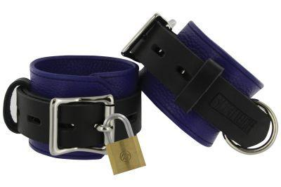 Strict Leather Blue And Black Deluxe Locking Ankle Cuffs Sex Toy Product