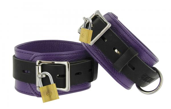 Strict Leather Purple Black Deluxe Locking Ankle Cuffs Sex Toy Product