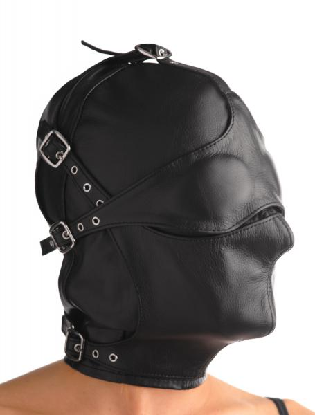 Asylum Leather Hood With Removable Blindfold And Muzzle- Sm Sex Toy Product