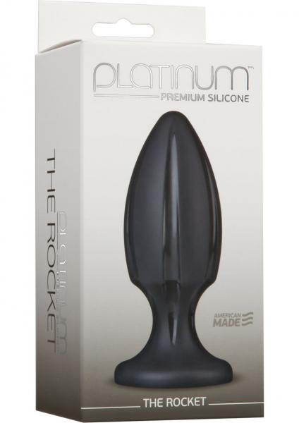Platinum Silicone The Rocket Anal Plug Black 4.5 Inch