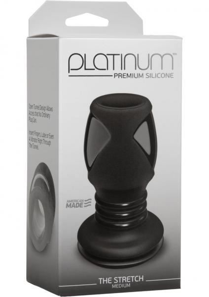 Platinum Silicone The Stretch Silicone Anal Plug Medium - Black