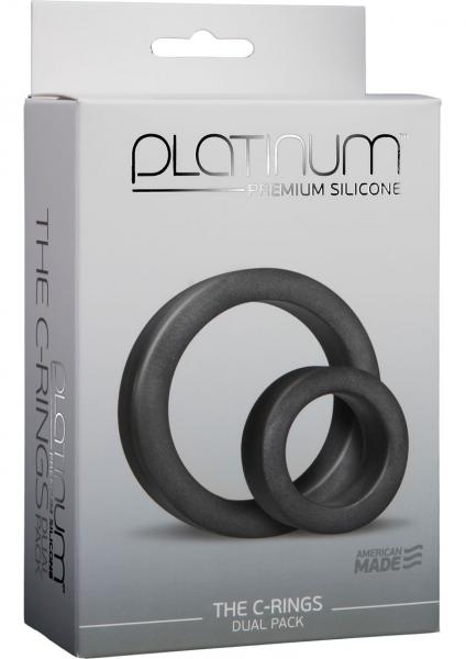Platinum Silicone The C Rings Cock Ring Two Pack Black