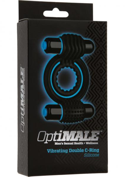 Optimale Silicone Vibrating Double C-Ring Waterproof Black